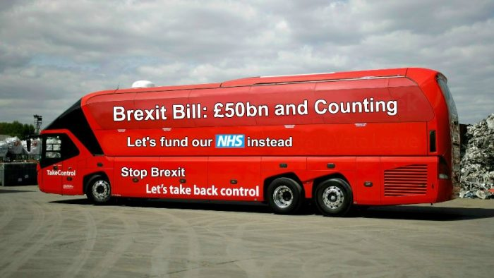 Brexit Facts Bus in Bath, Thursday, 22 February, arrive at 8:30 for 8:45 – 9:00 am, Terrace Walk ('Bog Island')