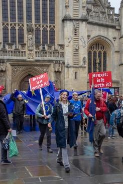 On the march through busy Bath. Photo © Clive Dellard.