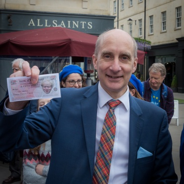 Another fan of our Boris banknotes! Photo © Clive Dellard.