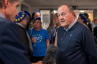 Local pro-Remain campaigner being interviewed by BBC Bristol. Photo © wwww.mickyatesphotography.com