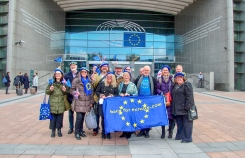 Delegation of Bath for Europe and Bristol for Europe supporters outside the European Parliament in Brussels. Photo © Clive Dellard.