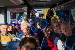 One of 8 Bath for Europe coaches en route to London for the #PeoplesVoteMarch. Photo © Clive Dellard.