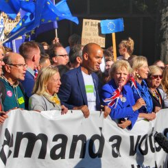 MPs including Anna Soubry and Chuka Umunna marching at the head of the #PeoplesVoteMarch, October 2018. Photo © Matthew Perks.