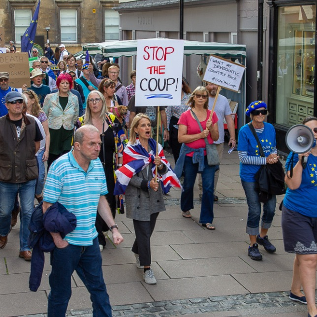 Bath MP Wera Hobhouse leading hundreds of peaceful protestors through Bath. Photo © Clive Dellard.