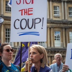 Bath MP Wera Hobhouse addressed the crowd. #StopTheCoup rally. Photo © Clive Dellard.